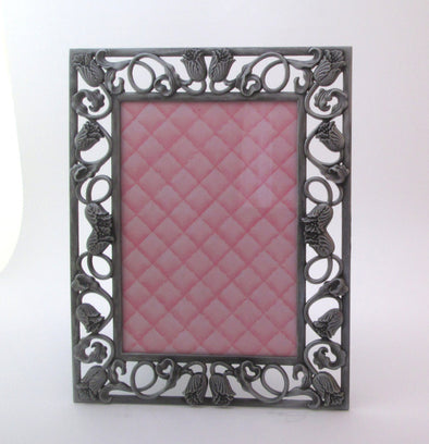 Vintage 5x7 frame ornate silver metal photo frame flower Wedding Frame 7x9 boho decor