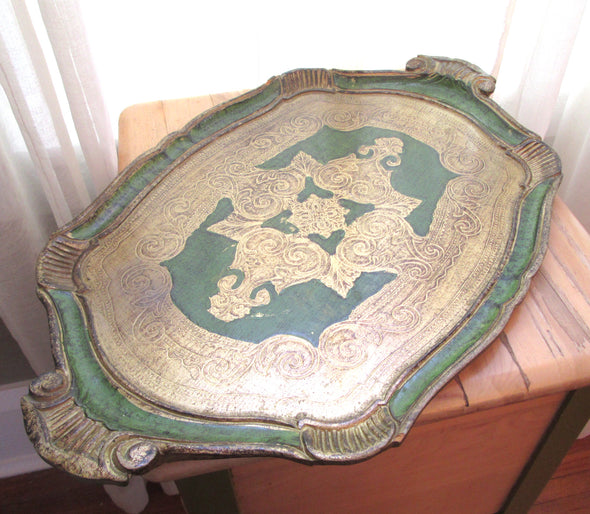 Vintage Large Florentine Tray Faux Bois, Serving platter with handles gilded vanity table Italy Renaissance, boho decor