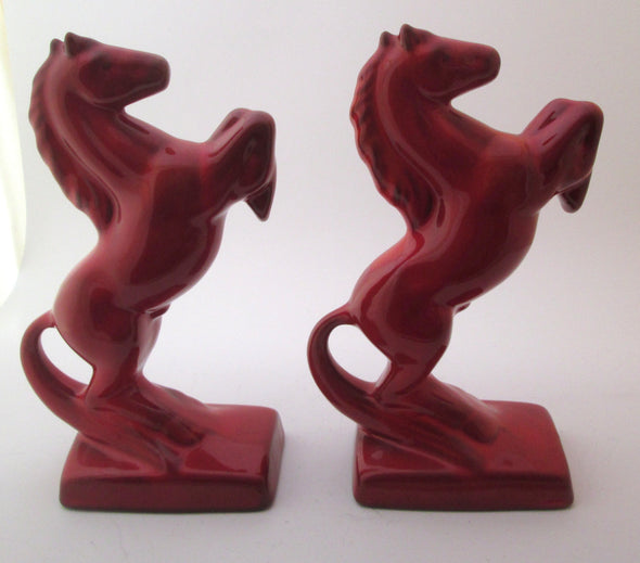 Vintage Red Ceramic Horse 2 bookends red clay ceramics photo prop horse statue pair