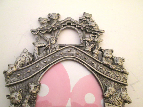 Vintage 3x4 frame, Noah's Ark metal photo frame nursery decor ornate silver small oval picture frame teddy bear dolphin