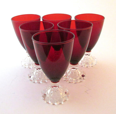 Vintage Red Boopie Glasses set of 4 Tall Anchor Hocking Royal Ruby Candlewick bubble beaded dessert wine champagne glass