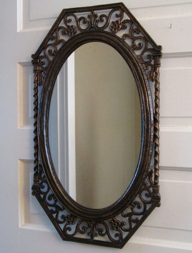 Vintage 1970s Syroco Wall Mirror rectangle oval filigree resin wall art rustic