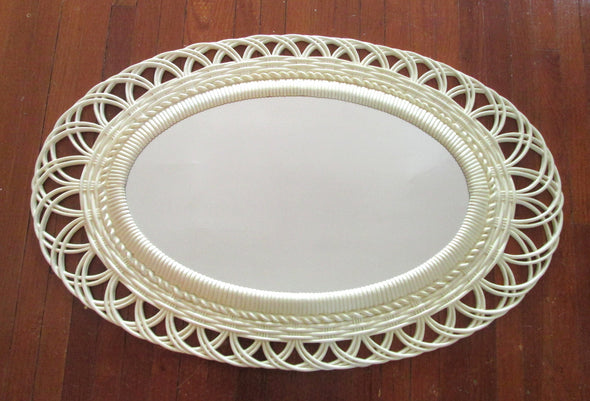 Large Vintage Mirror 1970s Oval Wall Mirror Burwood French Country boho decor