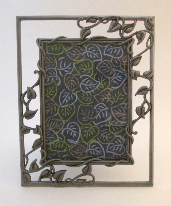 Vintage 7x9 metal picture frame for 5x7 photos silver leaves vines boho decor