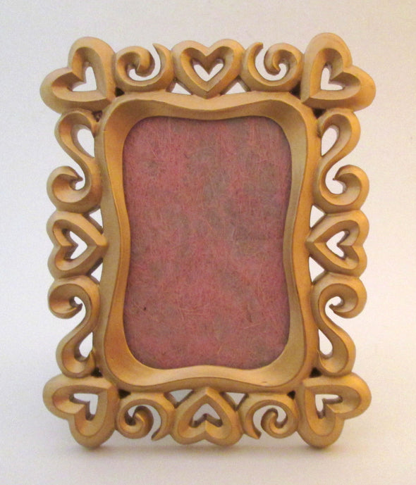 Vintage 6x8 Cast Resin picture frame for 4x6 photos gold hearts boho wedding