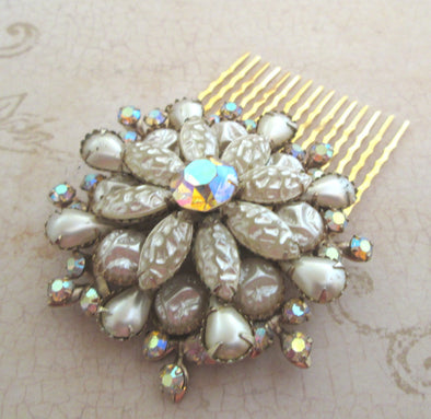 Vintage Wedding Hair Comb 1950s art glass OOAK artisan pearl brooch hair comb bridal hair accessories Gatsby wedding art deco hair comb - Late Boomer Vintage
