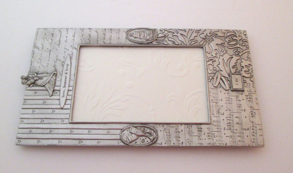 Vintage 4x6 frame Seagull Pewter I Do wedding picture love honour keep