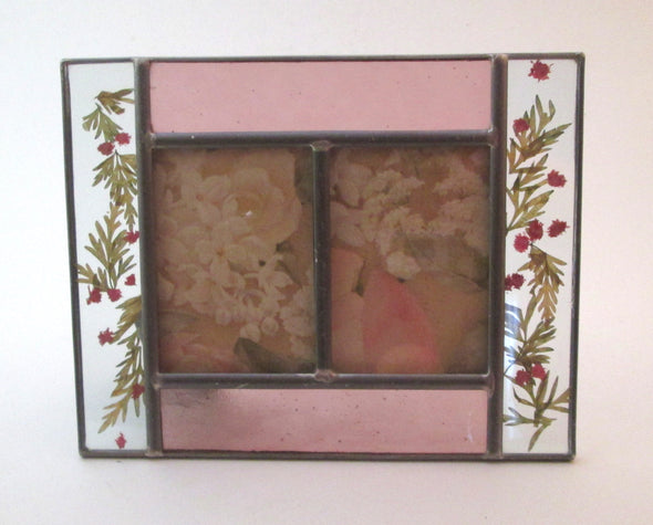 Vintage 2.5x3.5 double frame stained glass flowers Burnes of Boston pink