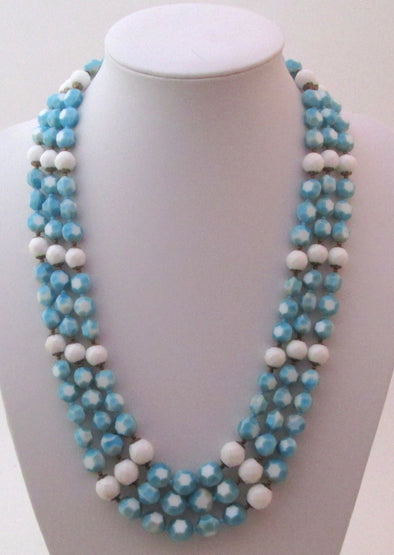 Vintage 1960s glass bead necklace triple strand blue white beads MCM jewelry