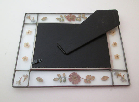 Vintage 5x7 frame glass and wildflowers 1990s photo frame 8x10