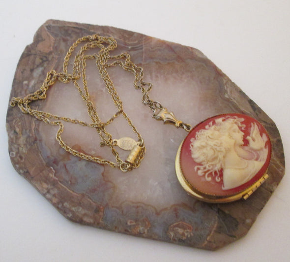 Vintage Cameo Locket Necklace 1928 jewelry co long layering boho jewellery