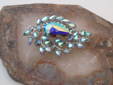 Vintage MCM Blue Rhinestone Brooch Pin Keyes jewellery something blue something old - Late Boomer Vintage