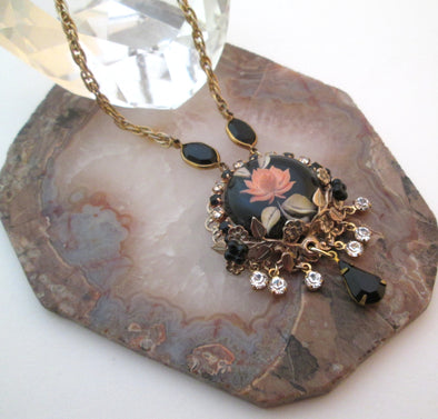 Vintage Lucite Rose Rhinestone Long necklace OOAK Artisan boho jewellery