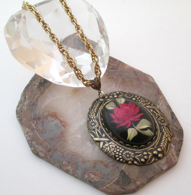 Vintage Artisan Long Necklace Lucite Red Rose Pendant Brass Chain Layering OOAK resin boho jewelry
