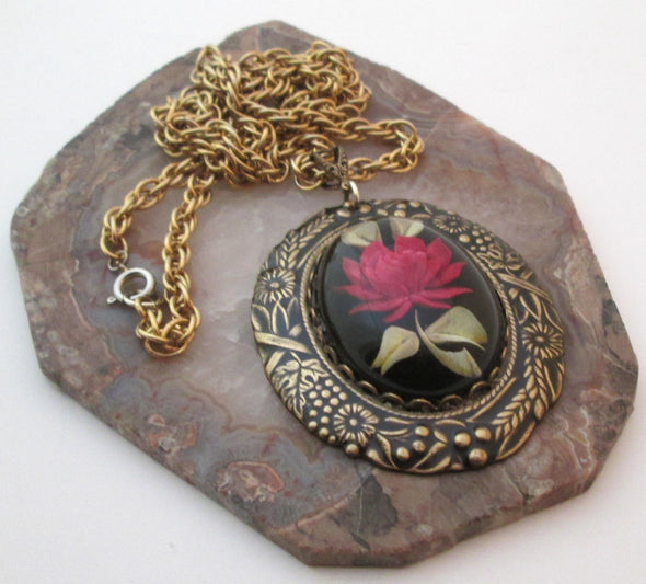 Vintage Artisan Long Necklace Lucite Red Rose Pendant Brass Chain Layering OOAK resin boho jewelry - Late Boomer Vintage