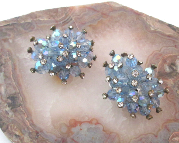 Vintage Shoe Clips 1950s Blue Rhinestone Montee Artisan OOAK Clips something old something blue wedding - Late Boomer Vintage