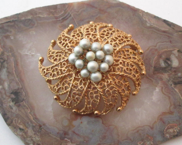 Vintage Judy Lee large flower glass pearl brooch 1960s MCM jewelry gold metal pin