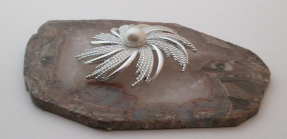 Vintage Sarah Coventry Brooch silvery sunburst MCM silver flower pin