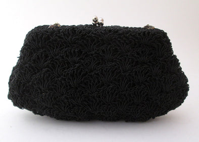 Black Bead Evening Bag Vintage 1950s Formal Bead Clutch Purse little black bag - Late Boomer Vintage