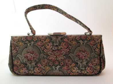 Vintage Tapestry Bag La Marquise 1970s Carpet Bag Purse boho flower handbag - Late Boomer Vintage