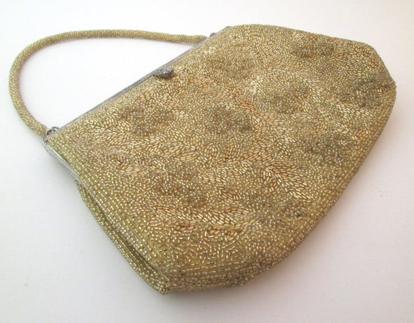 Micro Bead Vintage 1970s Gold Beaded Formal Evening Bag Purse - Late Boomer Vintage