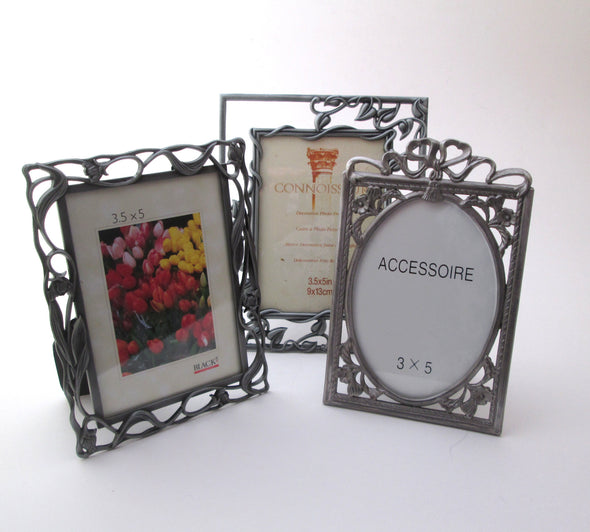 Set of 3 Vintage 3.5x5 frames silver metal boho nursery decor vanity frame gift