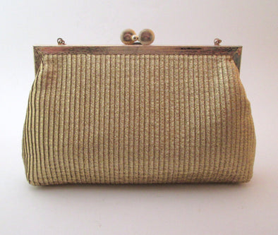 Gold Lame Evening Bag, Vintage 1970s Metallic gold small handbag disco purse - Late Boomer Vintage