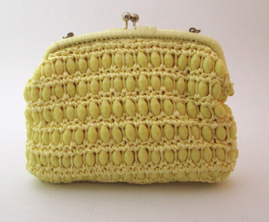 Yellow Woven Straw and lucite bead bag vintage 1960s Japan Simpson's raffia crochet boho hand bag beaded purse resort wear