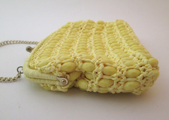 Vintage Yellow Woven Raffia Straw Lucite beaded bag boho Simpson's 1960s resort wear - Late Boomer Vintage