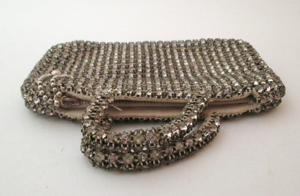 Rhinestone Montee Vintage 1930s Silver mini bag coin purse with handles jazz age evening bag - Late Boomer Vintage