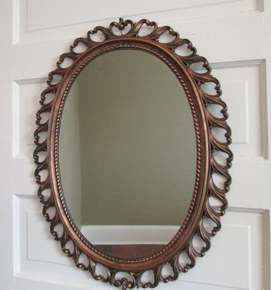 Large Oval Mirror Vintage Syroco Coppercraft Wall Mirror - Late Boomer Vintage