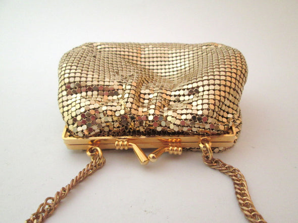 Vintage Whiting and Davis Gold Mesh Metallic Small Purse Cross Body Bag, gold metal chain mail bag with long metal chain - Late Boomer Vintage