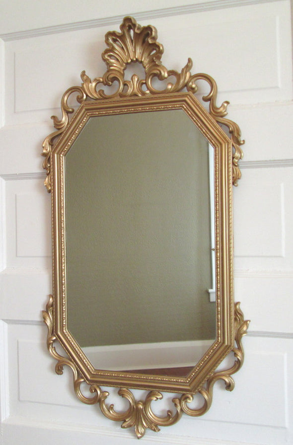 Syroco Vintage Long Rectangle Mirror French Country Decor - Late Boomer Vintage