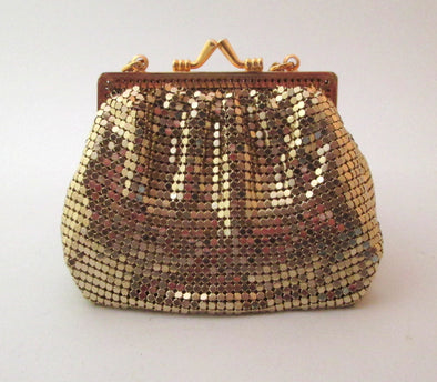 Vintage Whiting and Davis Gold Mesh Metallic Small Purse Cross Body Bag, gold metal chain mail bag with long metal chain