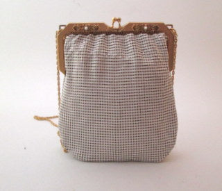 Vintage 1970s White Metallic Chain Mail Whiting and Davis Enamel Mesh Purse Bag - Late Boomer Vintage