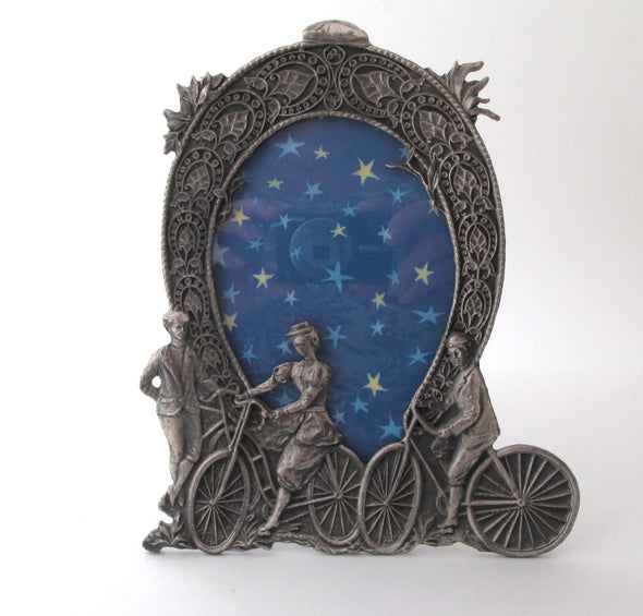 Vintage 6x8 Pewter Frame silver metal picture frame old fashioned bicycle - Late Boomer Vintage