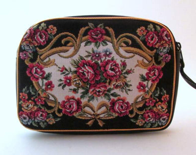 Vintage Tapestry Makeup Bag Clutch with handle, cosmetic travel bag, floral tapestry petit point purse