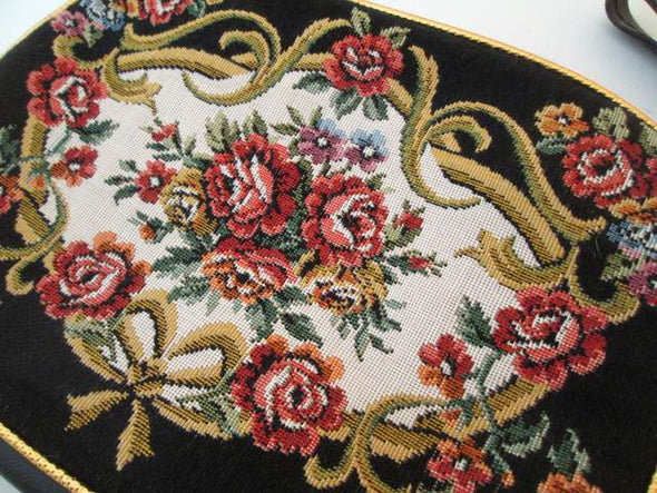 Vintage Tapestry Makeup Bag Clutch with handle, cosmetic travel bag, floral tapestry petit point purse - Late Boomer Vintage