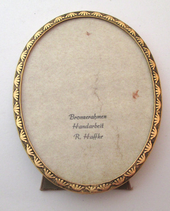 Vintage Haffke photo frame 3.5 x 4.5 small oval bronze gilt picture frame Germany