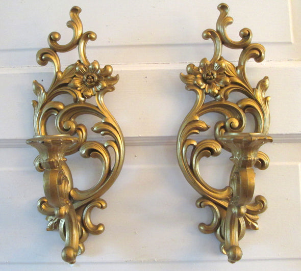 set of 2 Vintage Syroco Candle Wall Sconces French Country Boho Decor
