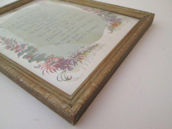 Vintage 6x8 Framed 1940s poem for Mother convex bubble glass original - Late Boomer Vintage