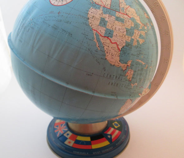 "Vintage 1970s World Globe Ohio Art 9"" metal planet earth globe office classroom decor - Late Boomer Vintage"