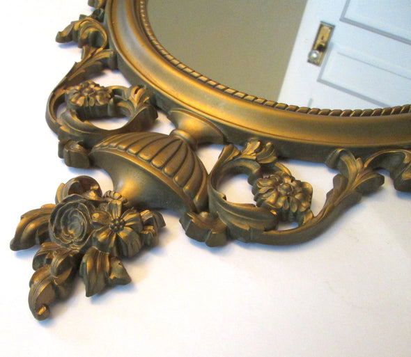 Syroco Large Oval Mirror Vintage Decorative Gold Wall Mirror grecian decor boho - Late Boomer Vintage