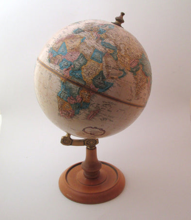 "Vintage 1980s World Globe Replogle 9"" metal planet earth globe office classroom decor - Late Boomer Vintage"