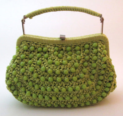 Vintage 1960s Green Woven Straw and lucite bead bag, chartreuse raffia crochet boho hand bag beaded purse resort wear