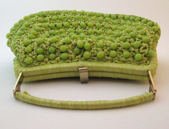 Vintage 1960s Bag Green Chartreuse Woven Straw Raffia lucite bead purse crochet boho resort wear - Late Boomer Vintage