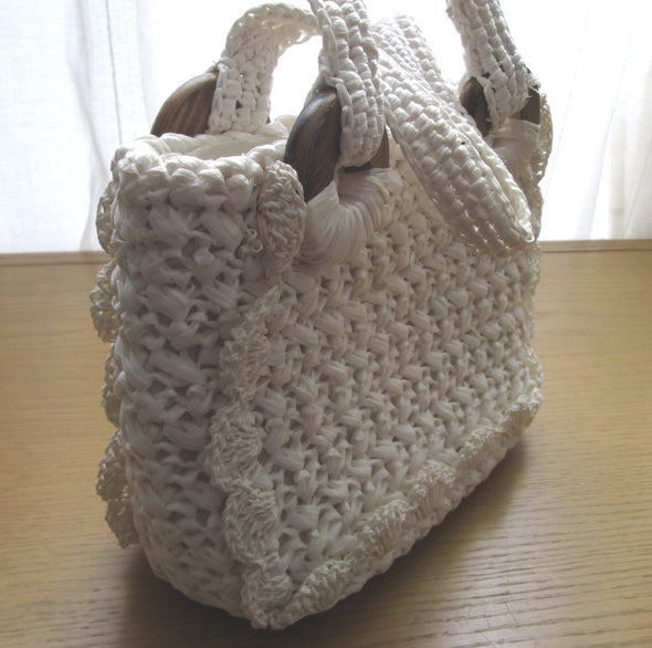 Vintage 1960s Go Go White Straw Raffia Bag Purse woven nautical style - Late Boomer Vintage