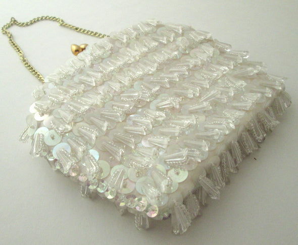 Flapper Purse Vintage Boho 1970s white beaded small hand bag sequin flower girl mini clutch - Late Boomer Vintage