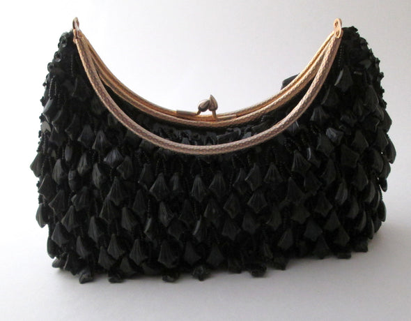 Vintage 1970s black bead flapper purse, boho black beaded small hand bag - Late Boomer Vintage
