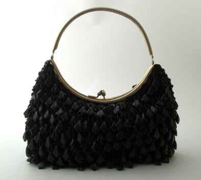 Vintage 1970s black bead flapper purse
